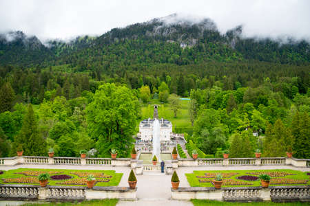 Ettal, Germany - June 5, 2016: Linderhof Palace. View of the main, south-north axis of the central complex. Bavaria, Germany