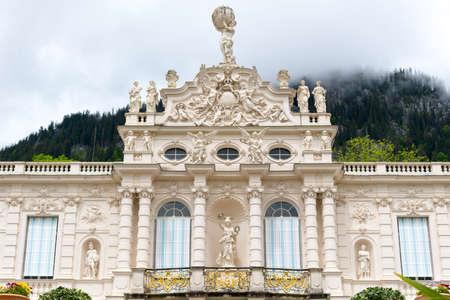 Ettal, Germany - June 5, 2016: Main facade of the beautiful Linderhof Palace. Southwest Bavaria, Germany Editorial