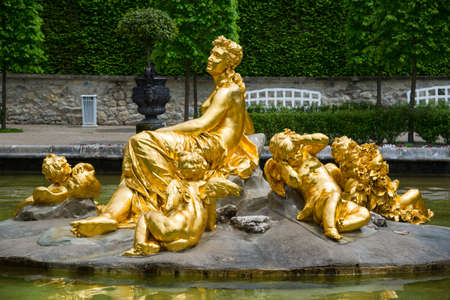 Ettal, Germany - June 5, 2016: Famous Linderhof Palace. Amazing fountain group Flora and puttos. Southwest Bavaria, Germany Editorial