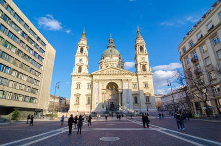 saint stephen cathedral: BUDAPEST, HUNGARY - FEBRUARY 20, 2016: Sunrise view of the church St. Stephens Basilica. It is a Roman Catholic basilica in Budapest, Hungary. Built in neoclassical style. Editorial