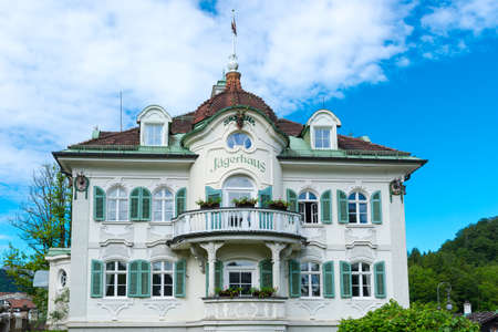 renovated: HOHENSCHWANGAU - JUNE 6, 2016: Villa Jagerhaus a four star hotel built in XIX century, renovated in 1994 contains 12 superior rooms in Bavaria, Germany Editorial