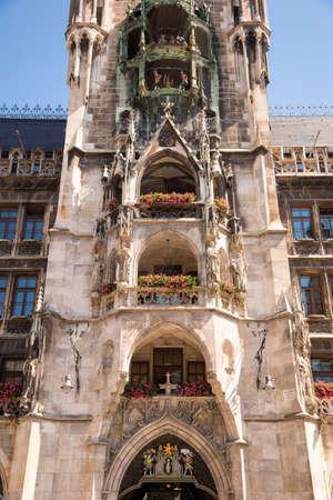 Detail of tower of the Neues Rathaus. Marienplatz, Munich, Bavaria, Germany