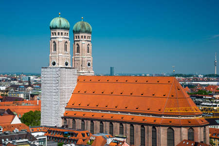 old center: View of the late gothic Cathedral of Our Dear Lady - Frauenkirche in Munich, Germany Stock Photo