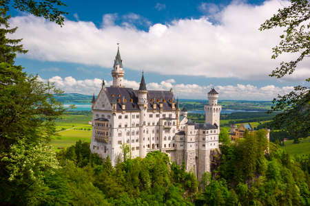 Neuschwanstein Castle on the top of the mountain, Fairytale castle in southwest Bavaria, Germany