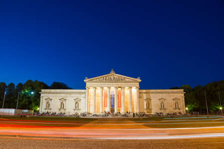 The Glyptothek, a museum commissioned by the Bavarian King Ludwig I to house his collection of Greek and Roman sculptures, at night. It is located at Koenigsplatz, Munich, Bavaria, Germany