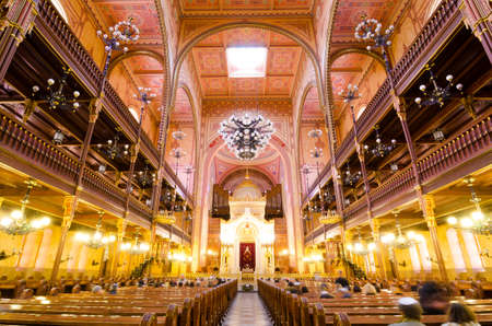zionism: BUDAPEST, HUNGARY - FEBRUARY 21, 2016: Interior of the Great Synagogue in Dohany Street. The Dohany Street Synagogue or Tabakgasse Synagogue is the largest synagogue in Europe. Budapest, Hungary.