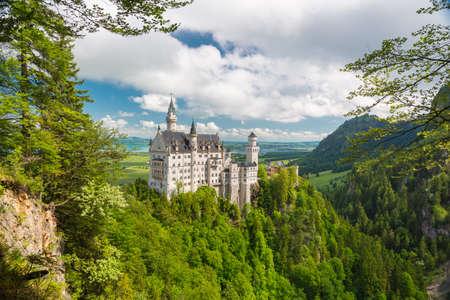 neuschwanstein: Picturesque nature landscape with Neuschwanstein Castle. Bavaria, Germany