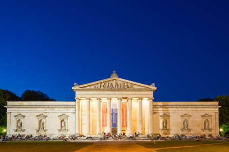 Munich, Germany - June 7, 2016: The Glyptothek, a museum commissioned by the Bavarian King Ludwig I to house his collection of Greek and Roman sculptures, at night. Munich, Bavaria, Germany