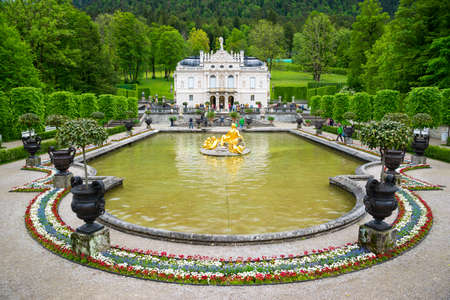 Bavaria, Germany - June 5, 2016: Fountain in the park of Linderhof Palace Editorial
