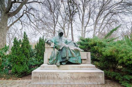 BUDAPEST, HUNGARY - FEBRUARY 23, 2016: Statue of Anonymous - Notary of King Bela, Vajdahunyad Castle in Budapest, Hungary