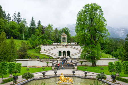Ettal, Germany - June 5, 2016: Linderhof Palace in Baviera, Germany, one of the castles of former king Ludwig II. Editorial