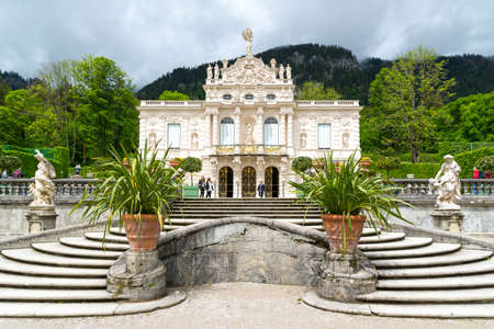 Ettal, Germany - June 5, 2016: Linderhof Palace is a Schloss in Germany, in southwest Bavaria. It is the smallest of the three palaces built by King Ludwig II.