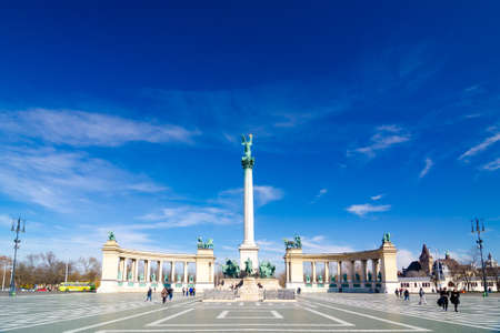 hungarian: Millennium Monument on the Heroes Square - major squares in Budapest, Hungary. Editorial