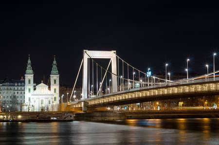 BUDAPEST, HUNGARY - FEBRUARY 22, 2016: Night view of Elizabeth bridge in Budapest, Hungary