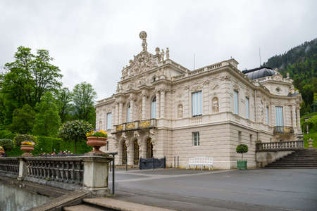 Oberammergau, Munich, Germany - June 5, 2016: Linderhof Palace - the smallest of the three palaces built by King Ludwig II in Bavaria, and the only one which he lived to see completed.