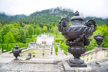 Ettal, Germany - June 5, 2016: Metalic vase with beautiful ornaments at Linderhof Palace, Southwest Bavaria, Germany