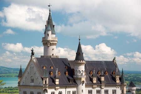 neuschwanstein: Neuschwanstein Castle on the top of the mountain, Fairytale castle in southwest Bavaria, Germany