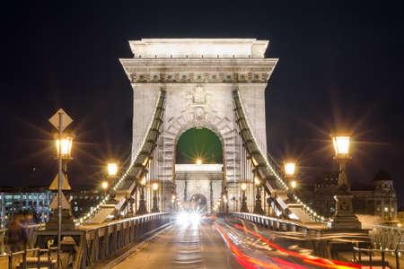 Beautiful night Budapest, the Chain bridge across the Danube river. Editorial