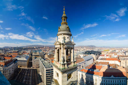 BUDAPEST, HUNGARY - FEBRUARY 22, 2016: Panorama of Budapest in Hungary. View from cathedral Redakční