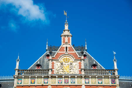 Amsterdam Central Station in the sunny day, Netherlands Stock Photo