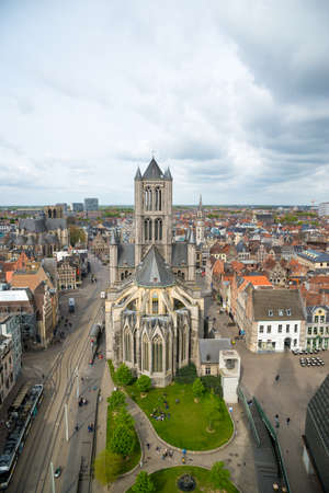 Aerial view on the center of Ghent with Saint Nicholas Church in Belgium.