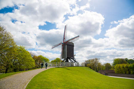 Traditional wooden old windmill in Bruges, Belgium