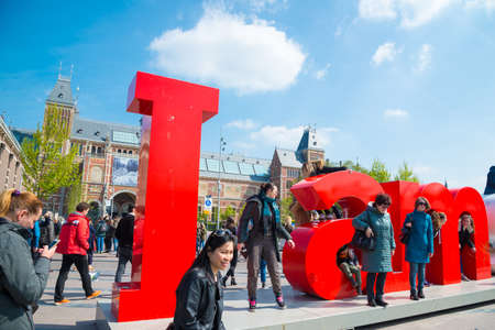 The I Amsterdam sign in front of the Rijksmuseum. Editorial