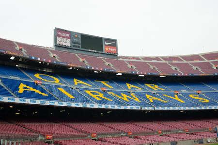 Barcelona, Spain - September 22, 2014: Display and title Qatar Airways on the tribune. Camp Nou, Barcelona, Spain.