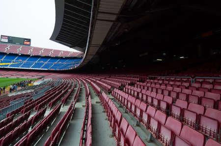 Barcelona, Spain - September 22, 2014: View of the Camp Nou stadium tribunes, Barcelona, Spain 新聞圖片