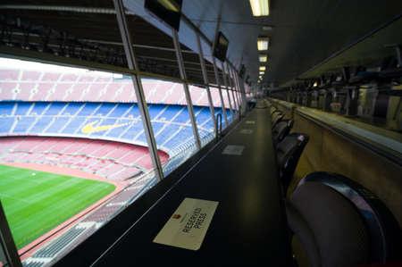 Barcelona, Spain - September 22, 2014: Places for press in the Nou Camp stadium. Barcelona, Catalonia, Spain. 新聞圖片