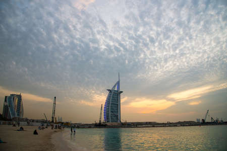 DUBAI, UAE - NOVEMBER 19: Evening view of the world's first seven stars luxury hotel Burj Al Arab -Tower of the Arabs on November 19, 2019 in Dubai. Also known as Arab Sail