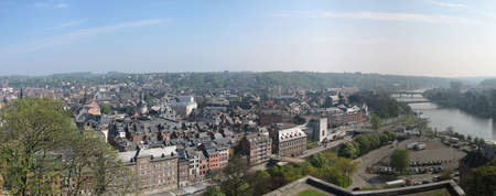 maas: Namur panorama where Samber meets Maas Stock Photo
