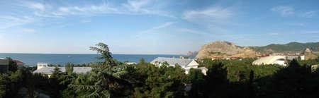 sudak: Panorama of Sudak at sunny weather Stock Photo
