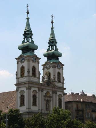 double cross: Pretty church in Budapest Stock Photo
