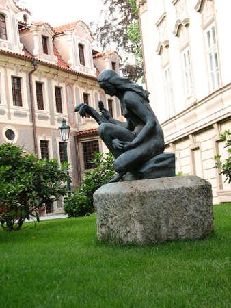 czech women: Sculpture at the narrow street in Prague center