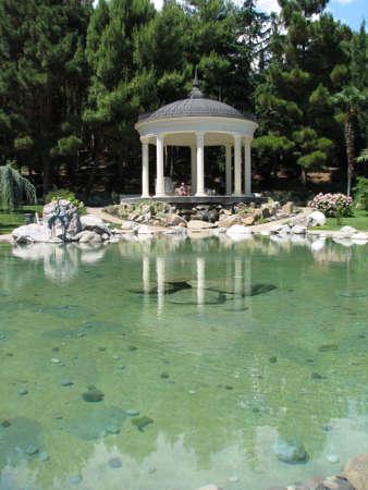 arbor: Arbor at the pond in Aivazovskoye Stock Photo