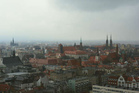 adverse: Wroclaw in a misty adverse weather