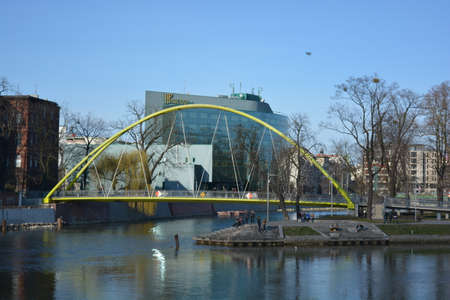 yello: A yello bridge in Wroclaw