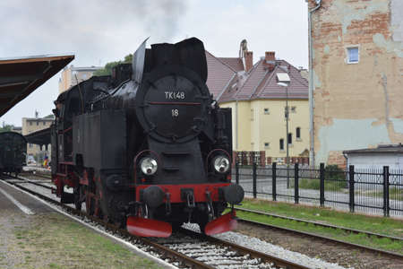 silesia: Old steam locomotive in Lower Silesia
