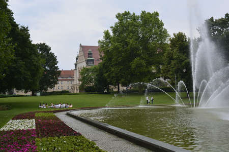 university fountain: Fountain near the Poznan university