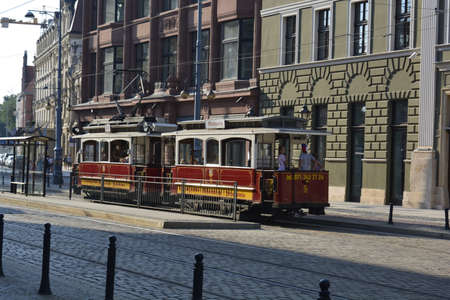 wroclaw: Old tram on Theater Street in Wroclaw