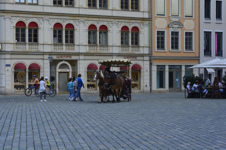 dresden: Horse carriage in Dresden Editorial