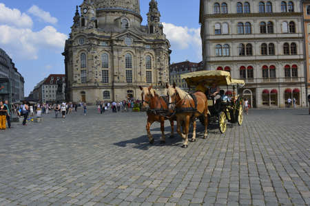 horse and carriage: Horse carriage in Dresden Editorial