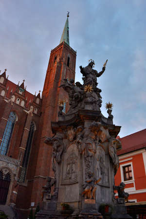 evening church: The Holy Cross church in Wroclaw in the evening