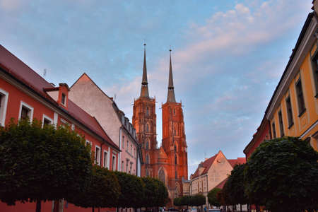 evening church: Wroclaw cathedral church in the evening