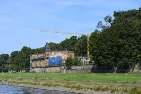 elba: Old palace near Elba river Editorial