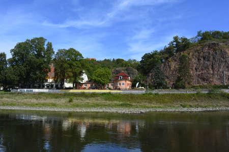 elba: Village over the river Elba Stock Photo