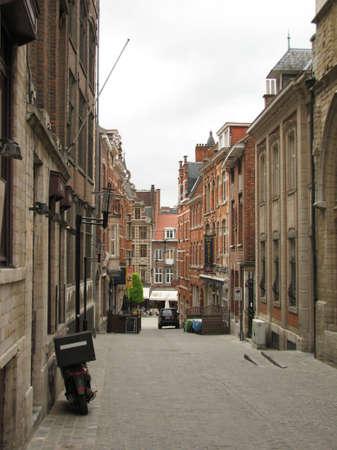 leuven: Narrow street in Leuven Stock Photo
