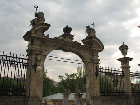 lviv: Old fence near St.Yura church in Lviv city