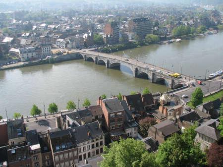 meuse: Bridge over the Meuse river in Namur Stock Photo